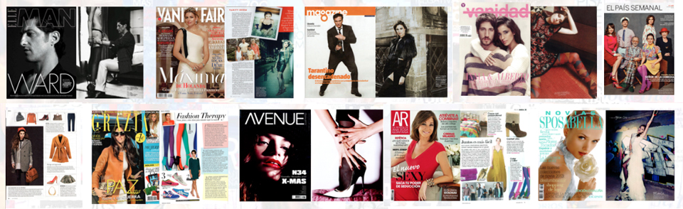 Portadas Elle, Vanity Fair, El Magazine de La Vanguardia, Vanidad, El País Semanal, Grazia, Avenue Illustrated, AR, Sposabella